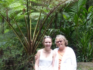 Donnis and her daughter Alecia beside a tree fern in the sub tropical rainforest at Springbrook.