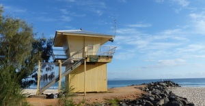 The Groyne lifeguard hut mid Noosa Beach.