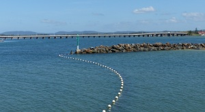 The Forster Tuncurry long bridge with humps at each end to allow larger vessels to pass beneath.