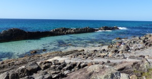 A natural feature at the southern end of Forster Beach is this natural rock pool.
