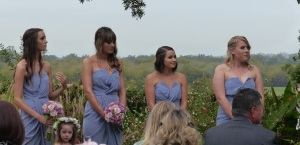The four bridesmaids, three sisters on the left and best friend of Jacqui on the right.