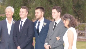 Proud Dad Pete, with brothers Mitch, Groom David and middle brother Chris and just as proud Mum, Bev.