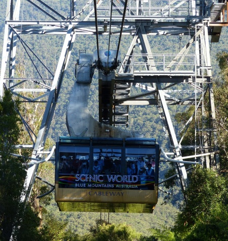 Scenic world has three rides which make the strongest person feel trembly in the knees. This is Cableway.