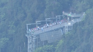This is the end of the Scenic Railway, Note that it sits atop a steep drop to the valley floor.