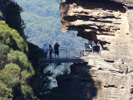 Closeup of the foot bridge to the sister. For some reason the bridge is named Honeymoon Bridge.
