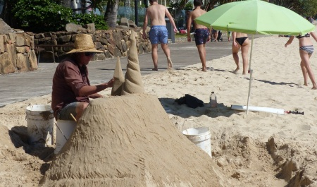 On our walk before the wedding I was fascinated to see this sand sculpture busily at work creating a sand masterpiece.