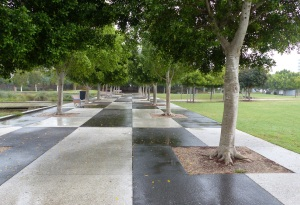 Tree lined piazza to the bandstand.