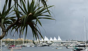 Big black clouds approaching from over The Broadwater beyond Versache Marina and Marina Mirage.